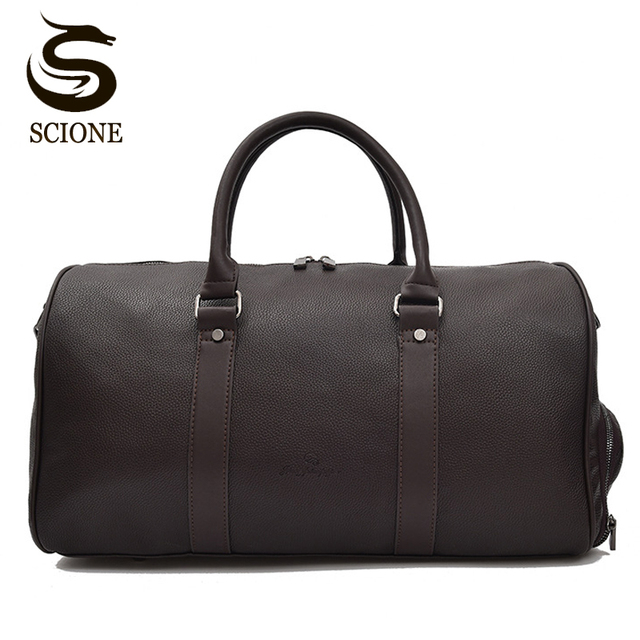 4f6cee7c7249 Black Brown Solid Color PU Leather Handbag Men Travel Duffel Bags Women  Female Shoulder Bag
