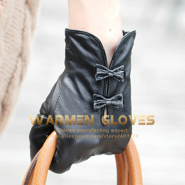 WARMEN  with Cute Bow Hand Bags Tips Stylish Women Genuine Nappa Soft Leather Lined Gloves