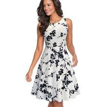 Summer Women Vintage Black Floral Print Sleeveless Swing A-line Dress Elegant Lady O-Neck Knee-Length Dress EA099