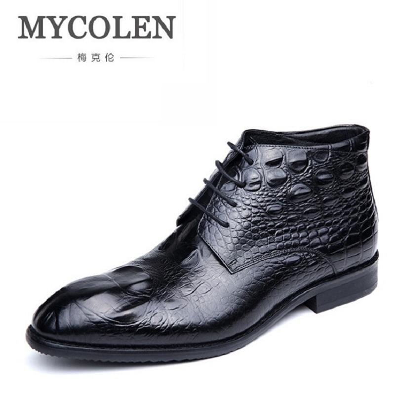 MYCOLEN Men Boots Genuine Natural Leather Snow Boots Brand Designer Handmade Ankle Boots Lace Up Autumn And Winter Shoes Bottine warmest genuine leather snow boots size 37 50 brand russian style men winter shoes 8815