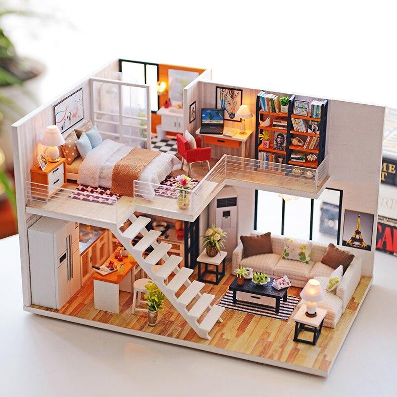 DIY Миниатюрный Кукольный домик Модель Кукольный домик с мебелью здания Наборы Casa дом для куклы игрушки для детей Рождественский подарок # E