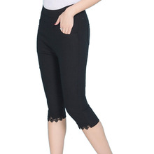 цена на 2019 Black White Capri Pants Women Elastic Stretch Skinny Pencil Pants Casual Lace Patchwork Calf-Length Pants Plus Size 5XL