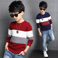 2016 Autumn New Arrival Mixed Color Cotton O-neck Striped Fashion Long Sleeve Pullovers Knitted Korean Casual Sweaters