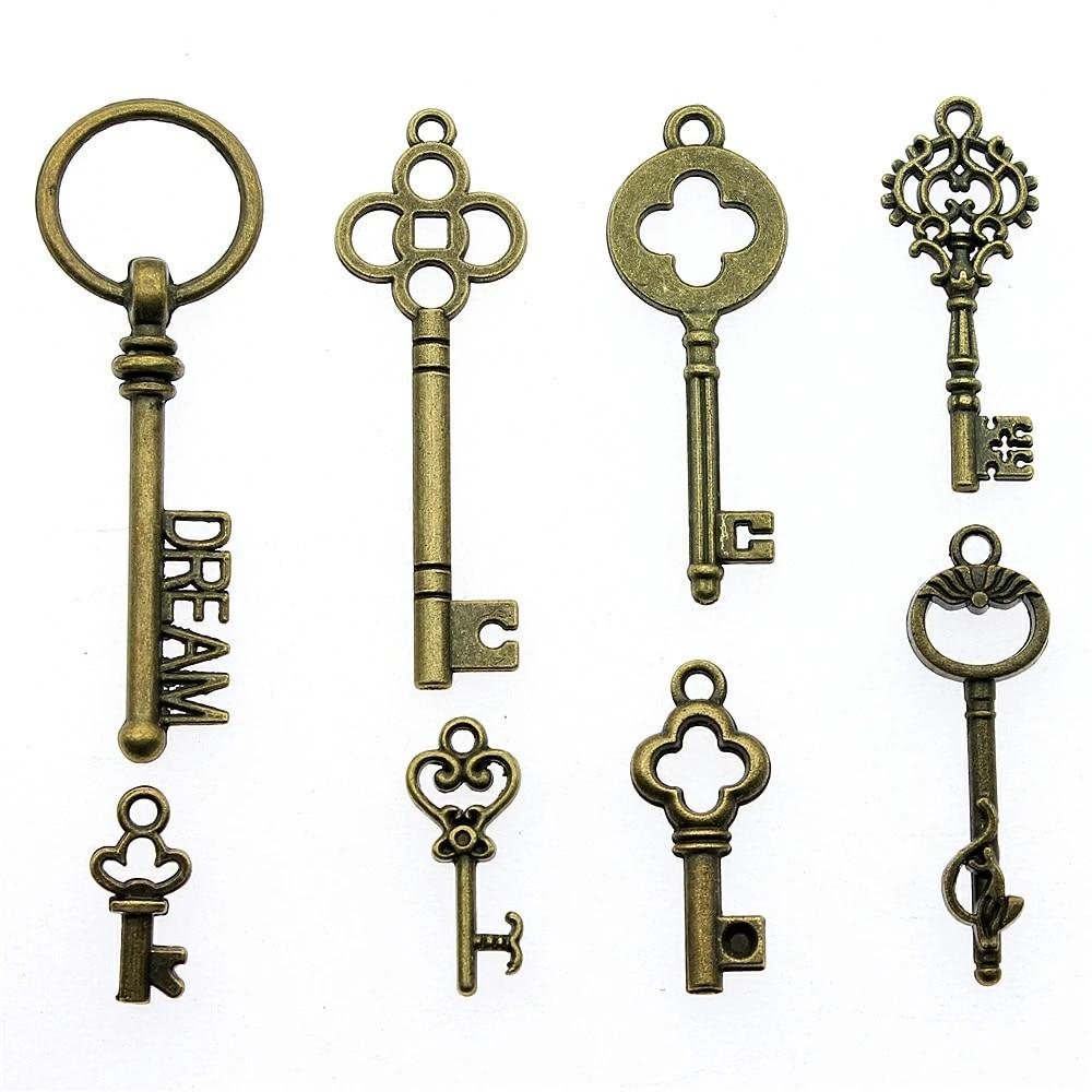 Bulk Lot 20pcs of 84x32mm Vintage Key Charm Pendants Connector Wholesale Charms Antique Bronze Vintage Silver Jewelry Findings PA1402-A1840