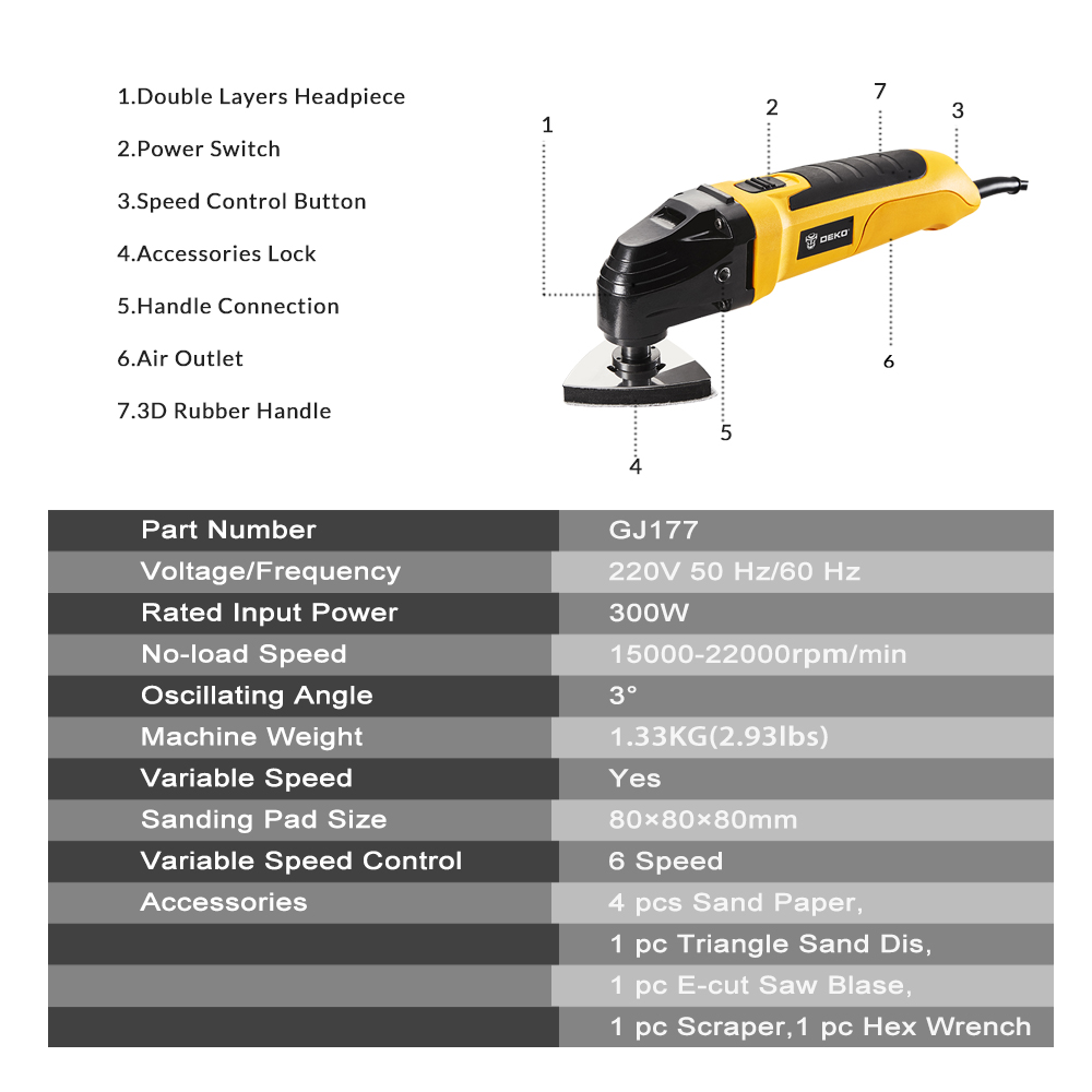 Cutting and Scraping with 34 Assorted Accessories 300W Oscillating ...