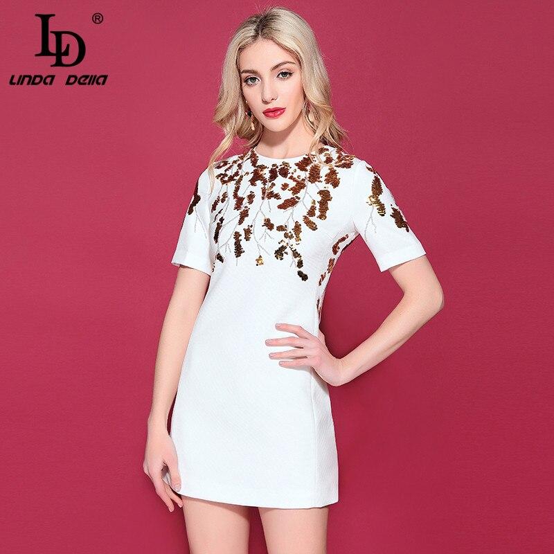 LD LINDA DELLA Piste De Mode robe d'été de Femmes courtes manches Magnifique Paillettes Robes Élégant décontracté Solide Blanc Robe