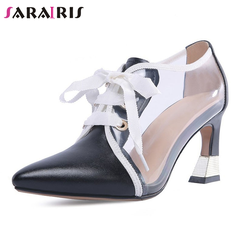 SARAIRIS 2019 New Cow Leather Gingham Lace Up Pointed Toe High Heels Shoes Woman Casual Party Spring Autumn Pumps Big Size 33-43SARAIRIS 2019 New Cow Leather Gingham Lace Up Pointed Toe High Heels Shoes Woman Casual Party Spring Autumn Pumps Big Size 33-43