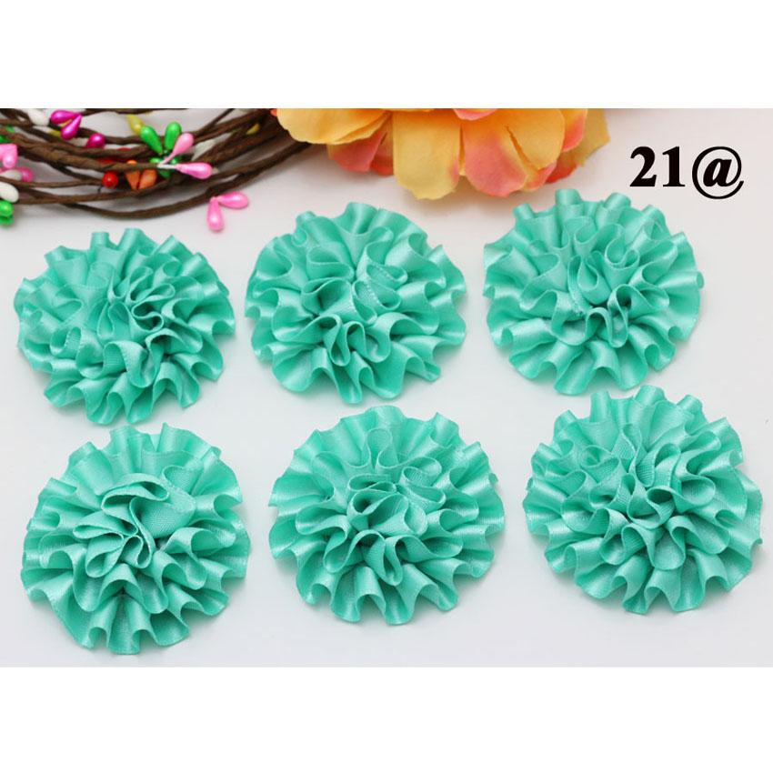 20piece 5cm Mint Green New Satin Ribbon Big Peony Flower Appliques