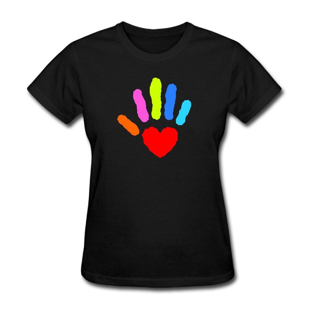 Hearthand Custom Cotton Print O-Neck Short Sleeve Black Tee shirt Lady Summer Poleras Mujer
