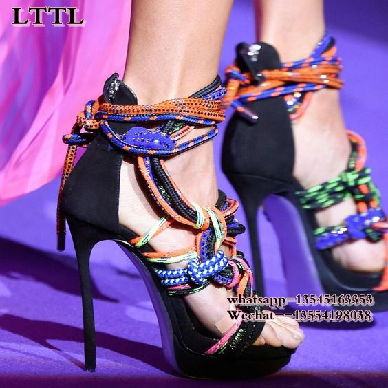 2018 summer newest multi-color rope cross tied high heel sandals stiletto heel colorful lace up fastening party shoes plus size все цены
