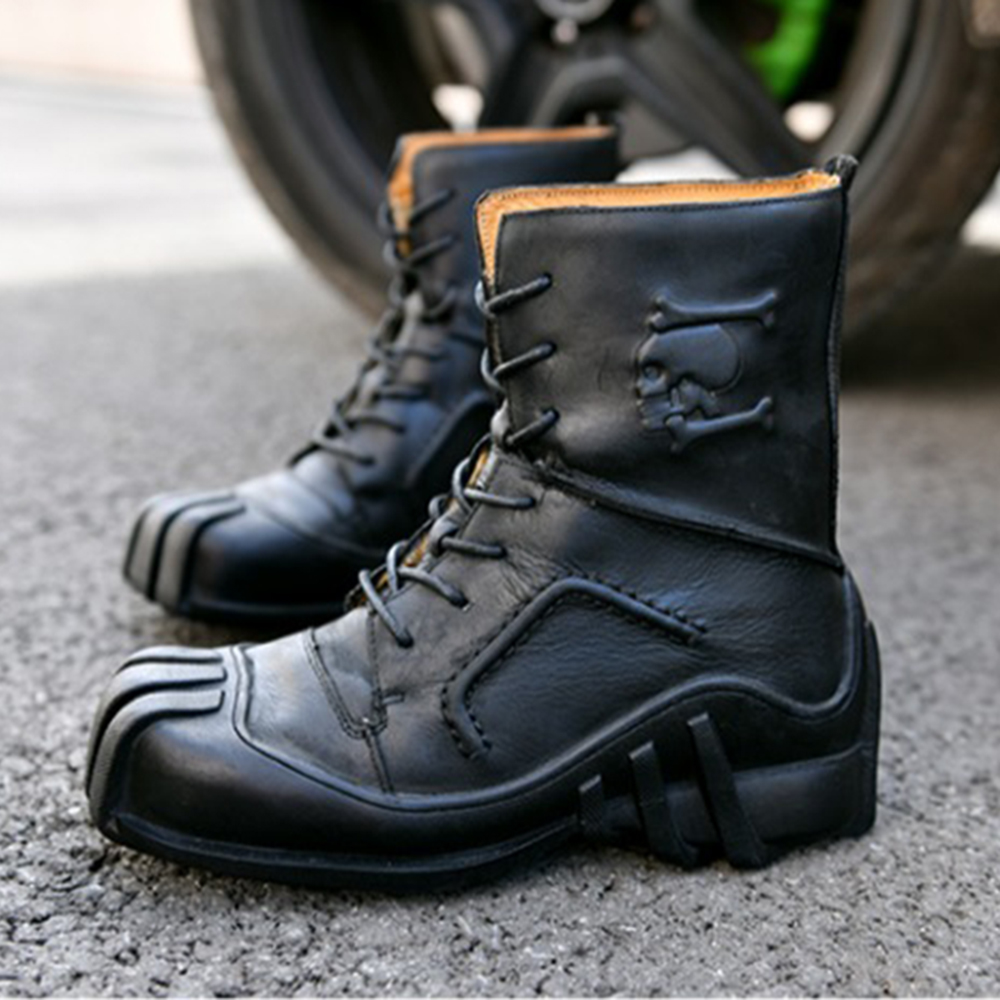 Motorcycle Boots Genuine Cow Leather Motorcycle Racing Boots Street Moto Chopper Cruiser Touring Motorbike Riding Boots