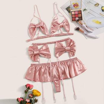 3 pc Sexy Lingerie Set Sexy Bra Garter Lingerie Set 2019 Fashion Women Satin Bowknot Underwear Pijamas Feminina Y фото