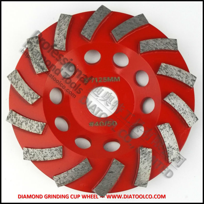 Dia125MM Segmented Turbo diamond grinding cup wheel for concrete and masonry material, 5 inch discs