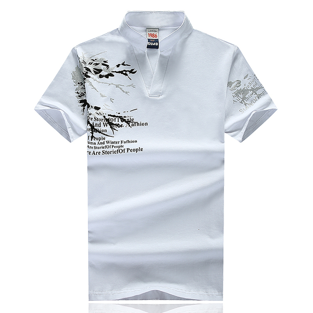Fashion 2016 New Arrival Plus Size Short Sleeve Embroidered Print Turn-down Collar Pullover Slim Fit Brand Men Polo Shirt