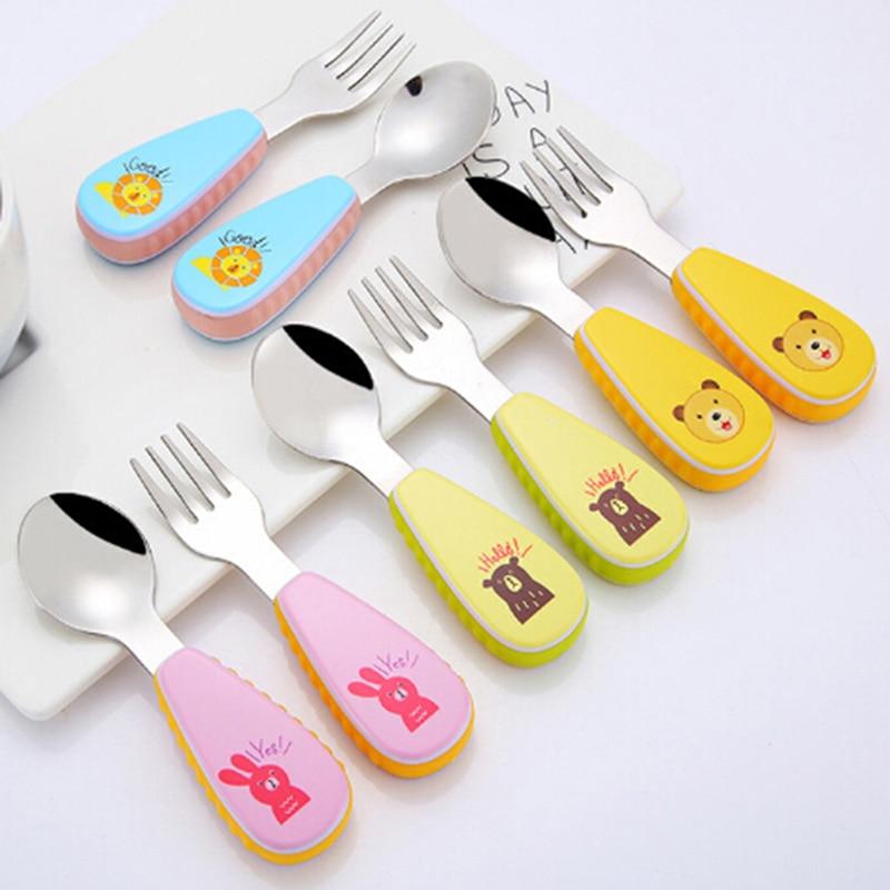 Hot Sale 1 Set Stainless Steel Baby Tableware Spoon Fork Cartoon Dinner Dish Feeding Food 6 Styles