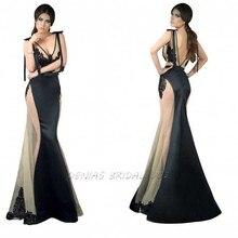Custom Made V Neck See Through Lace Appliqued A-line Long Evening dresses