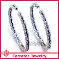 Carraton ESQD2098 Великолепный Полный Смешанный Цвет Диаманта CZ Подлинная Стерлингового Серебра 925 50 мм Большой Хооп Серьги
