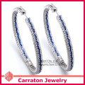 Carraton ESQD2098 Espléndido Color Mezclado Completo CZ Diamond Auténtica Plata de Ley 925 50mm Grandes Pendientes de Aro