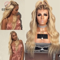 EEWIGS 26inch Ombre Blonde Lace Front Wig With Brown Roots Heat Resistant 180% Density Body Wave Synthetic Wigs For Women