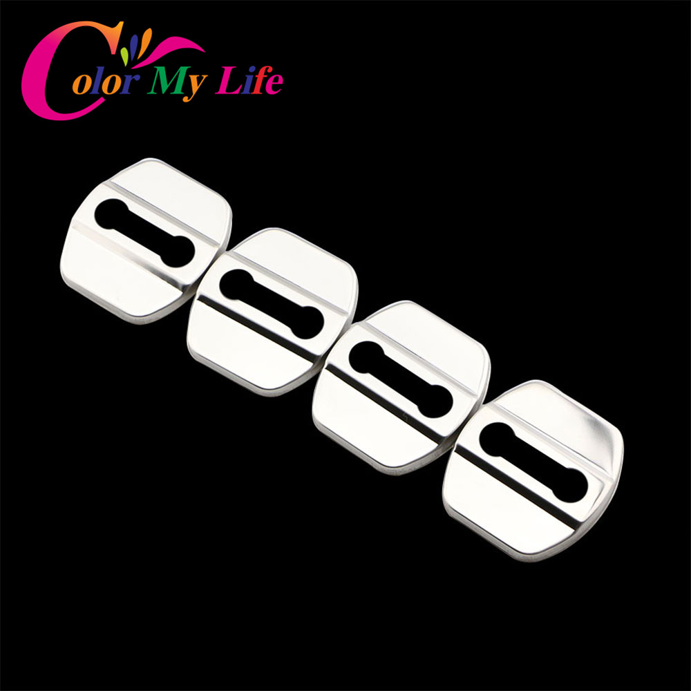 Color My Life 4Pcs ABS Or Stainless Steel Car Covers Door Lock Cover Case For Renault Koleos KADJAR Accessories Car Styling