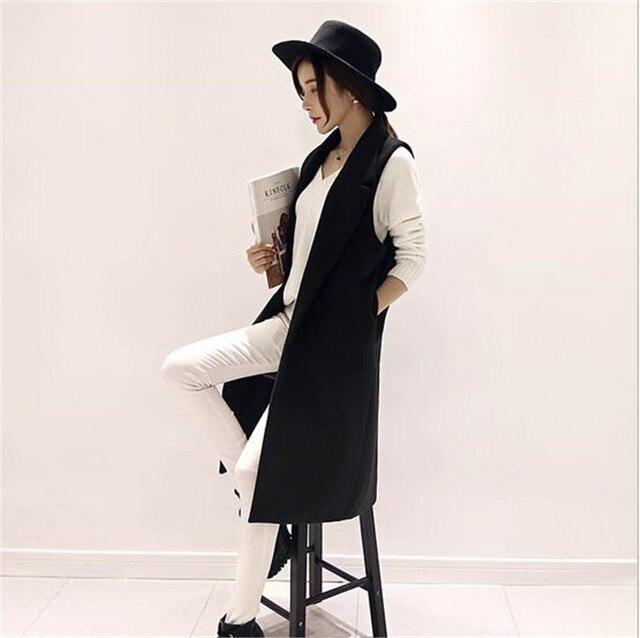 2016 Осень Зима Последней Моде Женщины Шерстяная ткань Жилет Свободно большой ярдов Досуг Чистый цвет Средней Длины Ma3 jia3 Пальто G1465