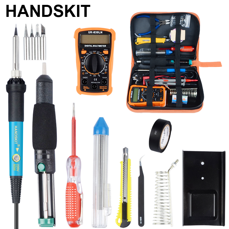 HANDSKIT Soldering Iron Metal Spudger Pliers Tweezers Digital Multimeter Repair Tool Soldering Kit Electronic Maintenance Tools