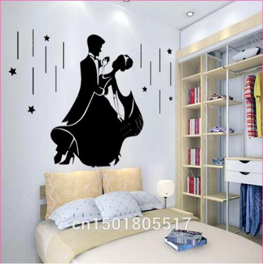 US $10.04 10% di SCONTO|Matrimonio romantico Wall Sticker Decorazioni  Camera Da Letto Carta Da Parati Murales Art Amore Coppia Moda Danza  Wallpaper ...