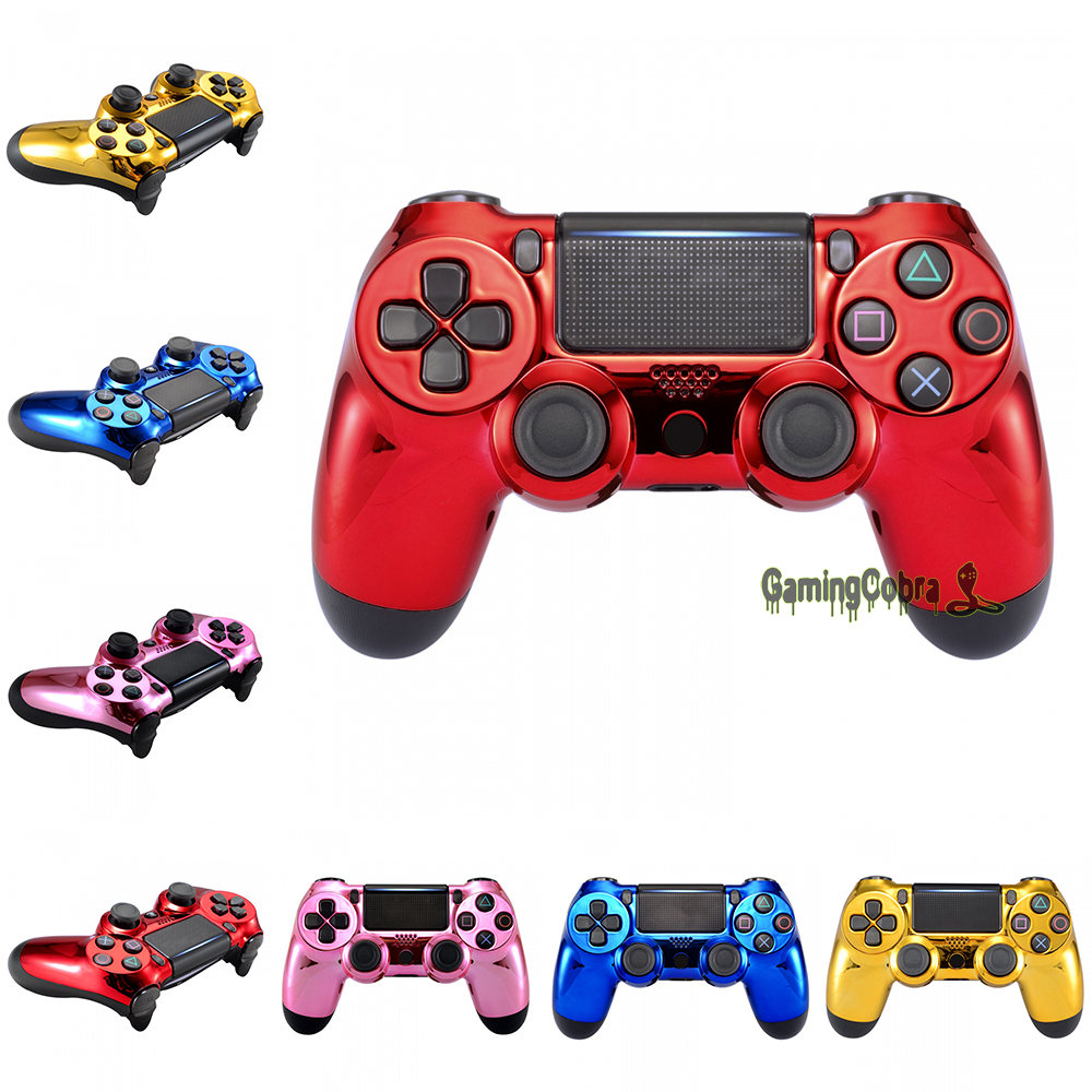 Chrome Designed Replacement Kit Front Shell  Faceplate Cover For PS4 Slim PS4 Pro Controller CUH-ZCT2 JDM-040 JDM-050 JDM-055