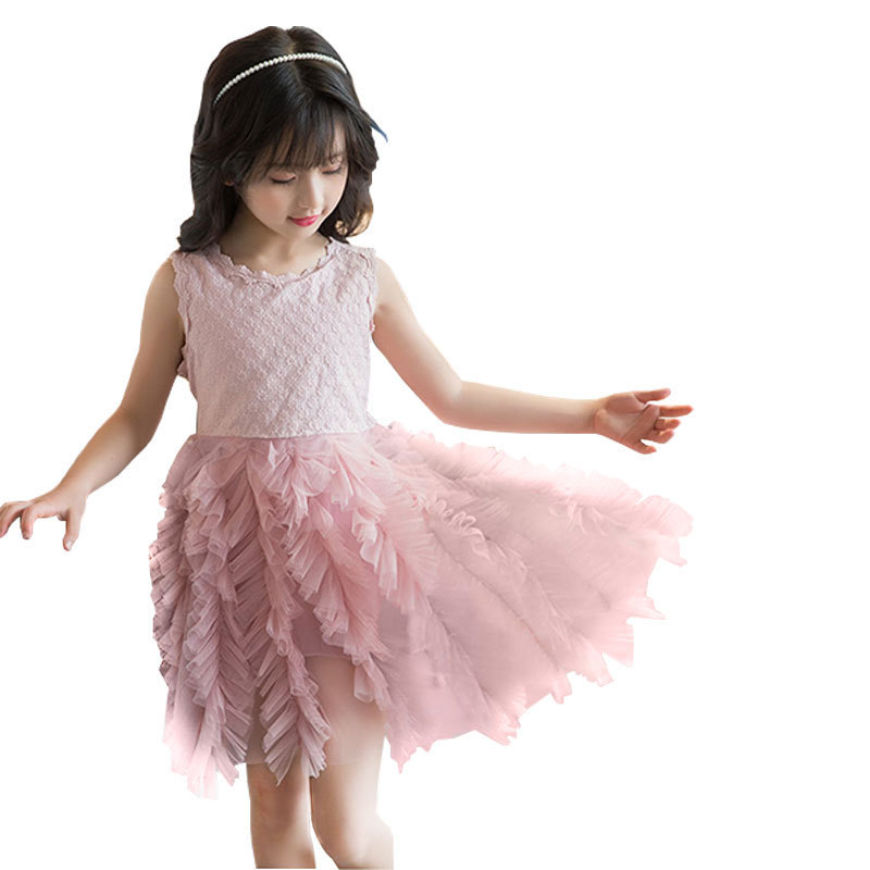 Girls Long Sleeved Peplum Dress New Girls Lace Top Party Dresses Age 3-12 Years