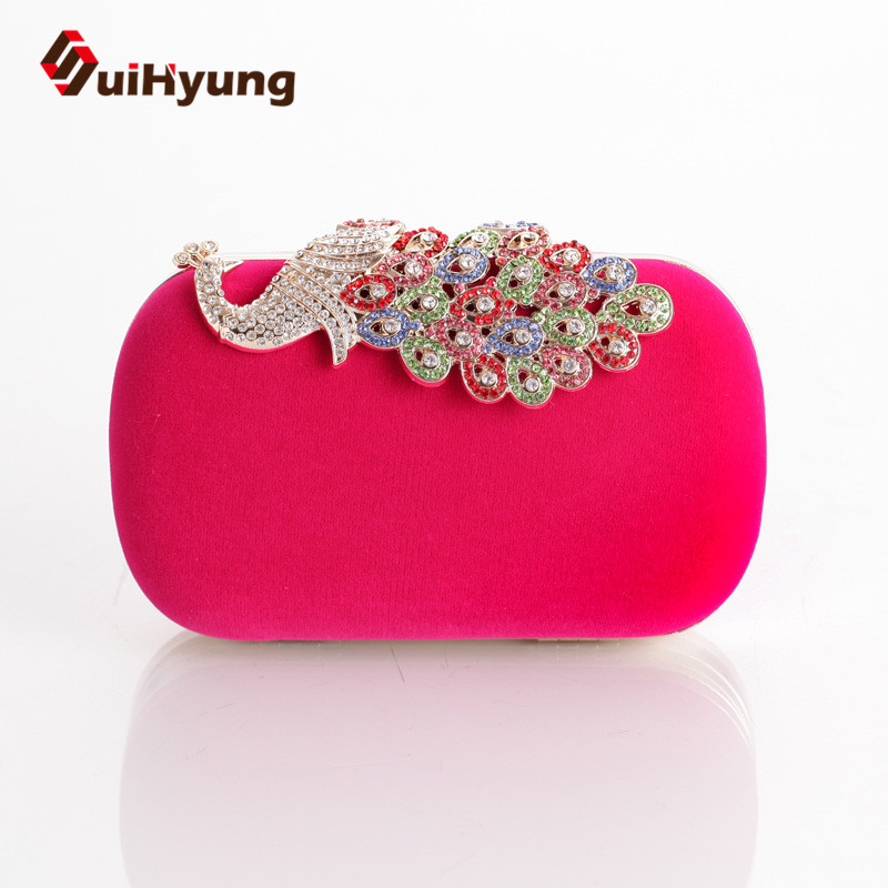 Hot Selling Top Quality Women Velvet Evening Bag Colored Diamond Hard Box Day Clutch Ladies Shoulder