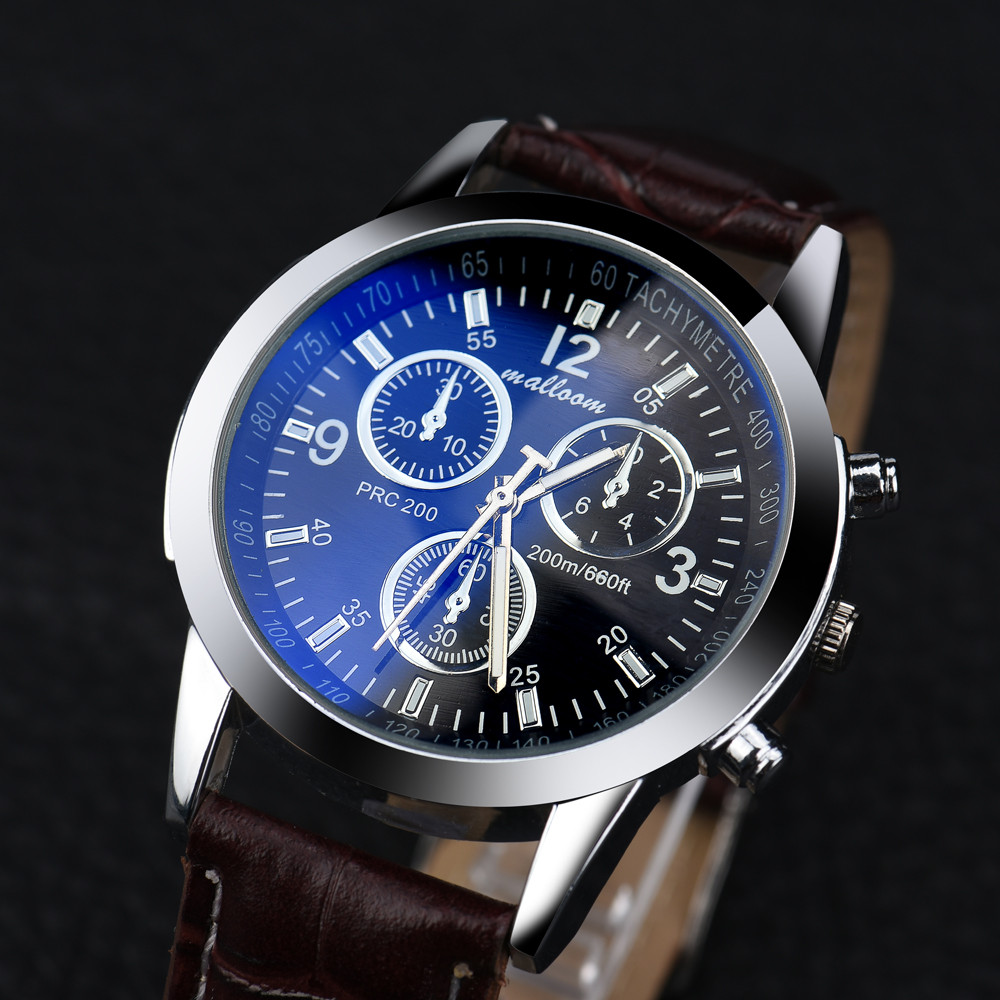 Luxury Brand Mens Watch Faux Leather Blue Ray Glass Analog Quartz Watches Sports Casual Watches Male Clock Relogios Masculino#77 quartz watch mens luxury crocodile faux leather analog blu ray business wrist watches clock men relogios masculino best gift