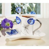 Creative Morning Glory Ceramic Cup Color Enamel Porcelain Cup Saucer Spoon Set Creative Gift