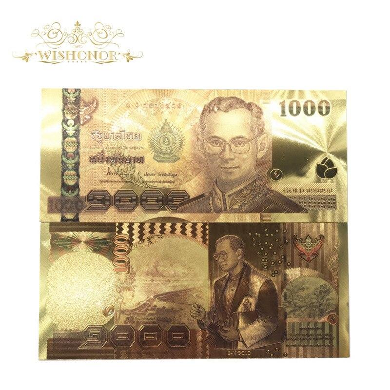 1 Uds gran oferta billete de Color Thail 1000 Baht billete de oro en papel chapado en oro de 24k dinero para colección y regalo