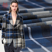 American Style Navy Blue Plaid Ripstop 100 Wool Fabric For Winter Coat Woolen Tissu Tecidos Stoffen