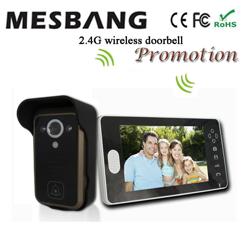 2017 hot new black color 2 4G wireless video doorbell wireless door video intercom phone 7