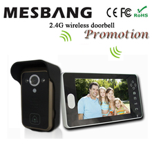 2017 hot new  black color 2.4G wireless video doorbell and wireless door phone intercom 7 inch monitor  easy to install