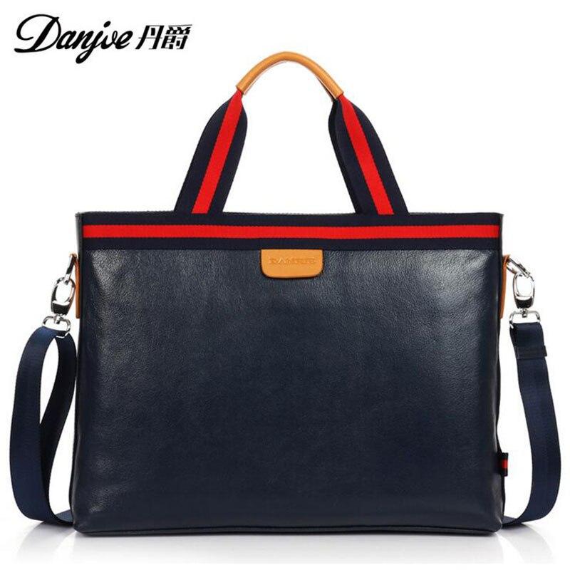 2016 DANJUE British Style For 14 Laptop Fashion Transverse Shoulder Bags High Quality Genuine Cowhide Solid men Laptop bag DJ06