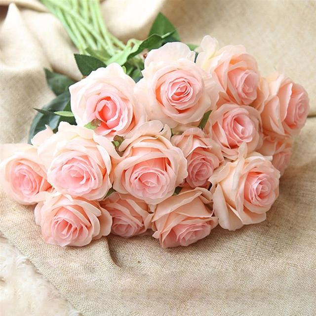 10pcs Silk Rose Artificial Flower Wedding Home Furnishings Diy