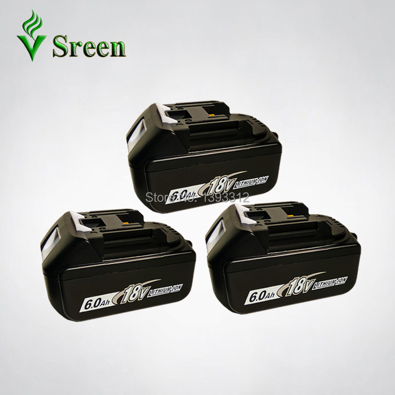 3PCS 18V Li-ion 6000mAh BL1860 Replacement for Makita 18V BL1830 BL1840 BL1815 LXT Rechargeable Lithium Ion Power Tool Battery sreen rechargeable lithium ion battery 6000mah replacement for makita 18v bl1850 bl1840 bl1830 bl1860 lxt400 power tool battery