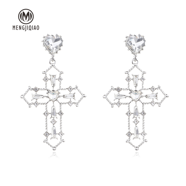 MENGJIQIAO 2018 New Baroque Style Statement Crystal Heart Vintage Drop Earrings For Women Fashion Temperament Party.jpg 640x640 - MENGJIQIAO 2018 New Baroque Style Statement Crystal Heart Vintage Drop Earrings For Women Fashion Temperament Party Big Earring