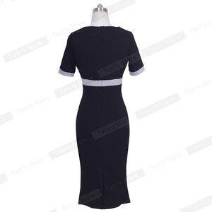 Image 4 - 素敵な永遠のちょう結び女性のワークヴィンテージドレス女性綿チュニック黒半袖フォーマルマーメイドボタンウィグルドレスb220