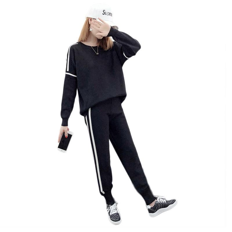 Vêtements Rayé De Black Costume Lâche Casual Ensemble Automne Femmes Nouvelle Top Pull Arrivée Et Tricot 2018 O Patchwork cou Pantsfemale XxA8qU