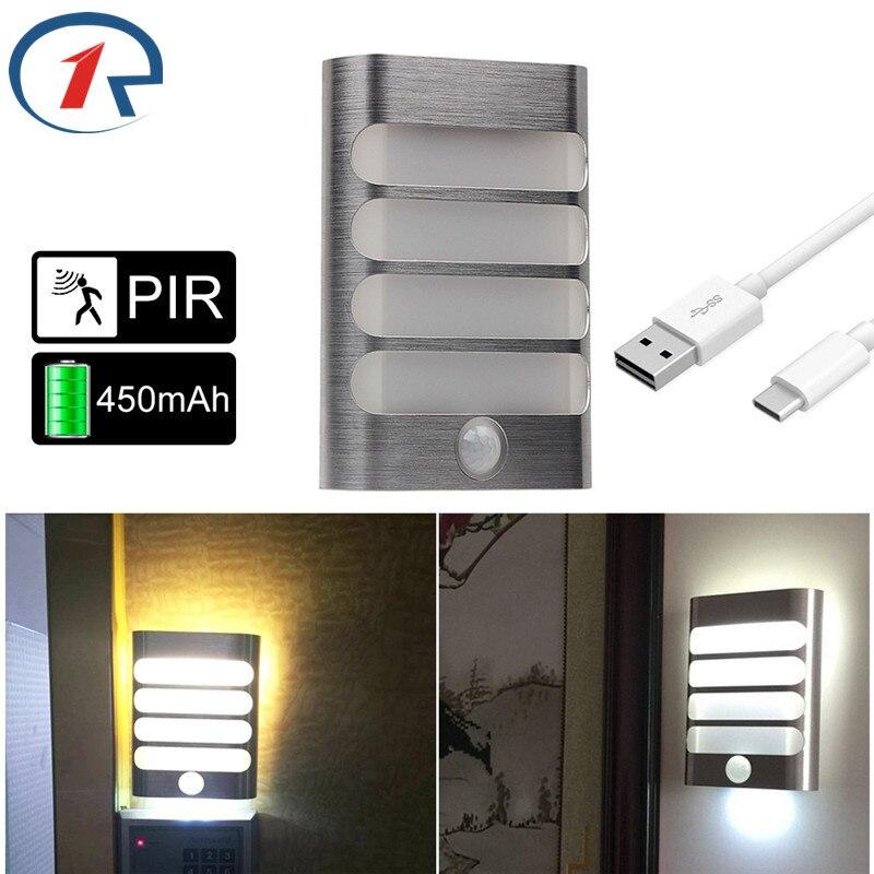 ZjRight LED armario luces ahorro de energía inalámbrico PIR Auto Sensor de movimiento lámpara de pared cocina dormitorio armario vestíbulo escalera iluminación