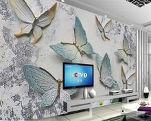 Купить с кэшбэком 3D Butterfly Relief background European style custom large mural Embossed wallpaper papel de parede 3d wallpaper beibehang