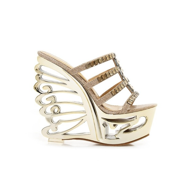 0a52e168a9c Brand New Novelty Women Platform Sandals Slides Gold Silver Ladies Sexy  Party Shoes Super Strange High Heels AXY76-3