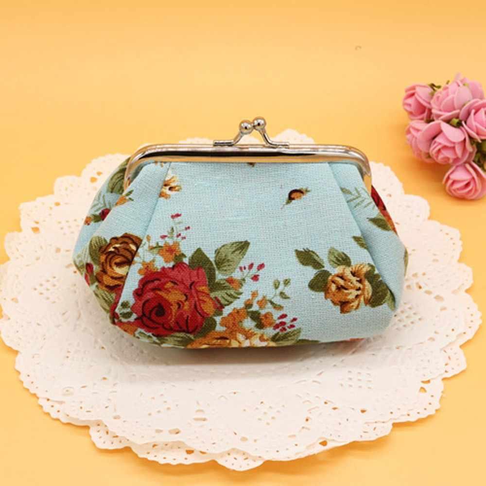 Mujer señora Retro Vintage flor pequeñas carteras bolso de mano Naivety multifuncional lona cartera tarjeta Hoder 23Jun 13