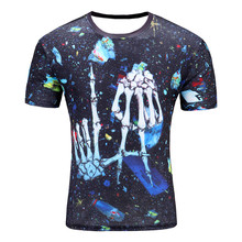 2017 New Skeleton fingers men 's T – shirt 3D short – sleeved cotton fashion casual round neck printing