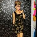 Женские камуфляж пу сплайсинга широкими лямками шифоновое платье NC212