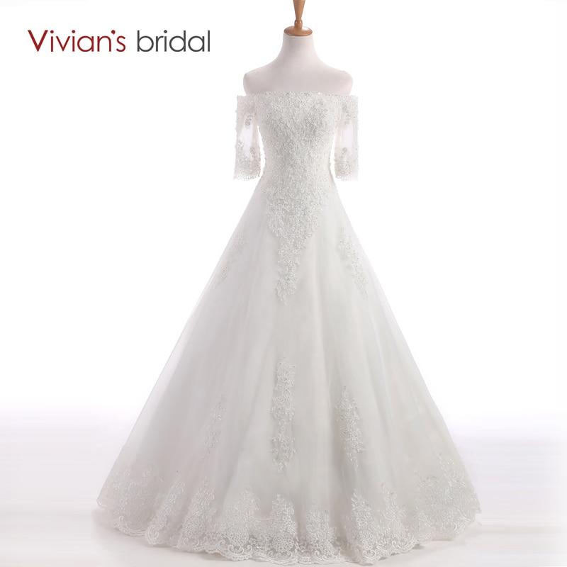 Vivian Bridal Beaded Sequin Off plecu līnijas kāzu kleita laivu kakla puspiekstu kāzu kleitas grīdas garums WD450-24
