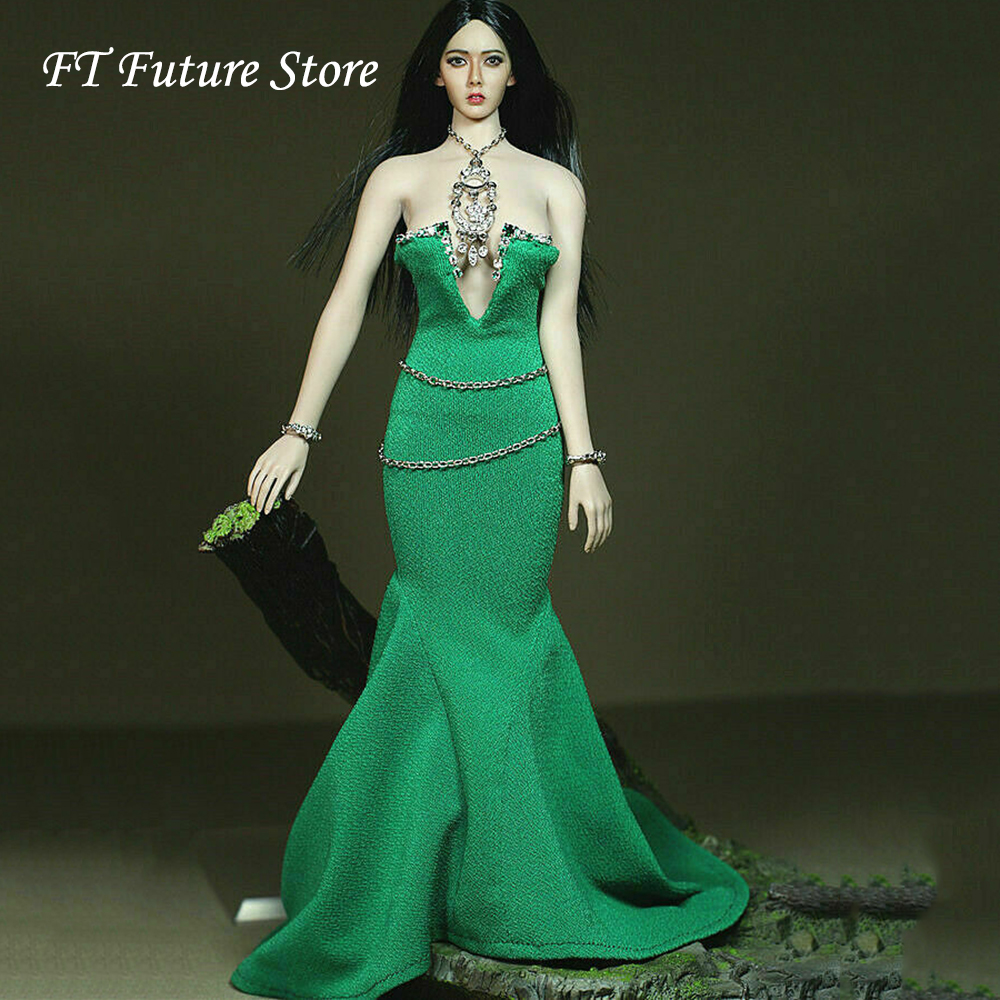 Collectible 1/6 Scale Sexy Female Green Dress Skirt Necklace toys Belt Accessories Set Model for 12 Large Bust Figure BodyCollectible 1/6 Scale Sexy Female Green Dress Skirt Necklace toys Belt Accessories Set Model for 12 Large Bust Figure Body